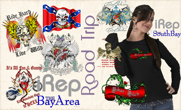 Road Trip, Biker Babe, Biker Chick, Biker gifts, skulls,Rebel Flag, iRep Bay Area