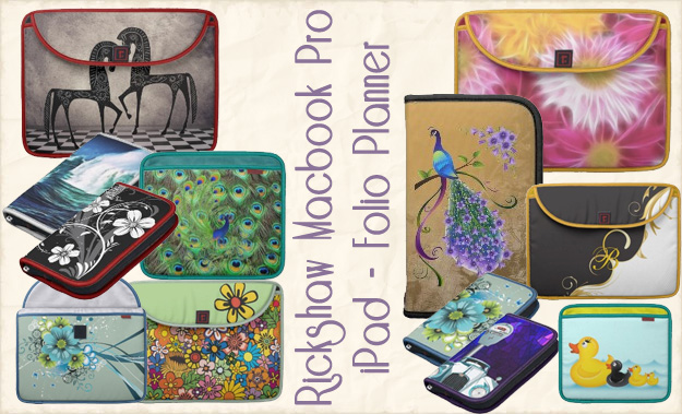 Custom Rickshaw iPad Sleeves, Folio Planners, Macbook Pro Sleeves - Zazzle and Rickshaw Bagworks have teamed up - these are original custom designs
