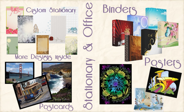 Custom Stationary, Postcards, Custom Binders in 3 sizes and posters and prints